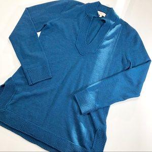 Tory Burch Teal V-Neck Tunic Merino Wool Sweater